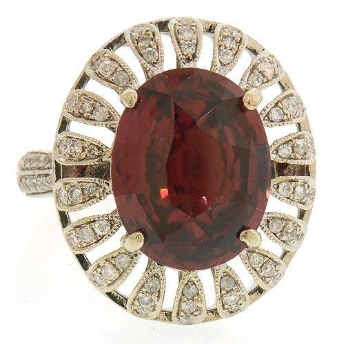 Grand 9.6 CT Pink Zircon & Diamond Cocktail Ring in 14K