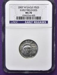 Rare 2007-W MS70 $25 Platinum Eagle, NGC