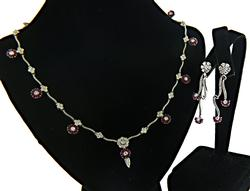 Ruby & Diamond Earring & Necklace Set in 18K
