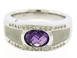 STRIKING UNISEX AMETHYST & DIAMOND RING
