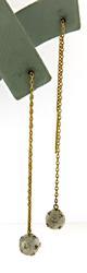 Trendy 2 Tone Diamond Threader Earrings in 14K
