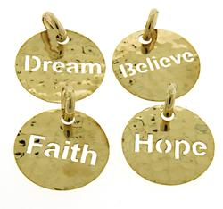 Set of 4 Polished Gold Charms: Faith, Dream, Believe, H