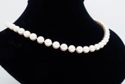 Classic Pearl Necklace with Diamond Accents