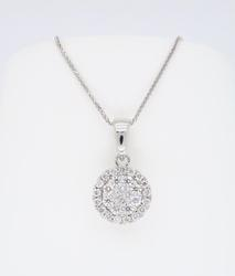 Halo Style Diamond Cluster Necklace