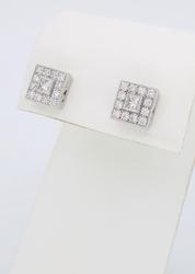 Square Shaped Mixed Cut Cluster Diamond Earrings
