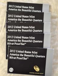 5 x US Silver 2012 ATB Parks Quarter Proof Sets