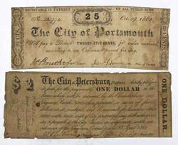 Two  Va  Notes 1861 Petersburg 25 Cents & Portsmouth $1 1862