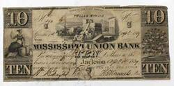 $10 Mississippi Union Bank Jackson Note April 1 1839