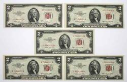 5 Choice Crisp Unc Red Seal  1953 B $2 US Notes