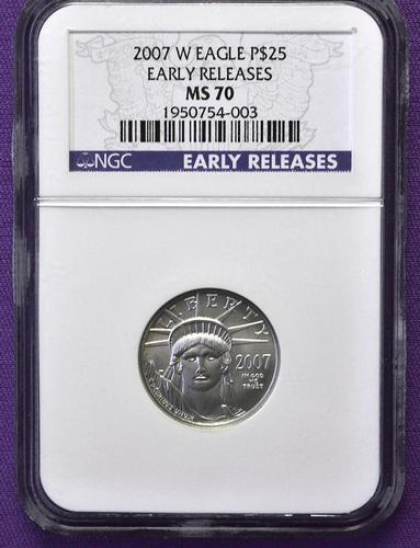 Rare 2007-W MS70 $25 Platinum Eagle, NGC