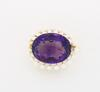 14K Yellow Gold Amethyst and Pearl Brooch