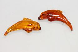 Natural Amber Dolphins - Set of 2
