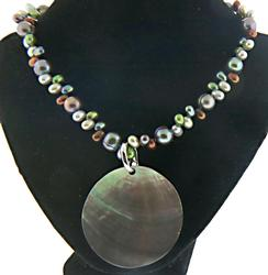 Multi Color Pearl Necklace with Round Pendant