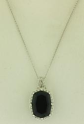 Flattering Black Spinel & Diamond Pendant Necklace