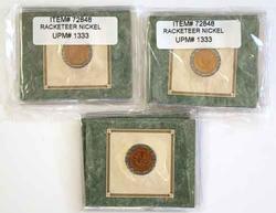 3 1883 Rackateer Nickels In American Historical Society Holders