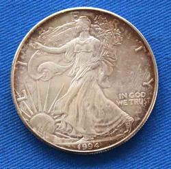 Tougher  1994  Unc Toned Silver Eagle