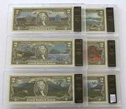 6 $2 National Parks Uncirculated in Bradford Exchange Holders