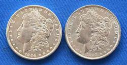 1889 and 1904 O Frosty White BU Morgan Dollars