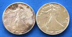 2 1986 BU Lightly Toned United States Silver Eagles