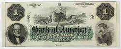 Rhode Island Bank Of America Choice CU $1 Note Circa 1850 60 s