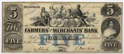 $5 Farmers And Merchants Bank Note Memphis Tenn 1854