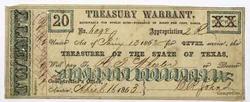 $20 Texas Treasury Warrant. Jan 10 1862
