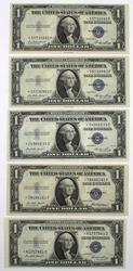 5 CH CU Star $1 Silver Certificates 4 1935 E And A 1935 F