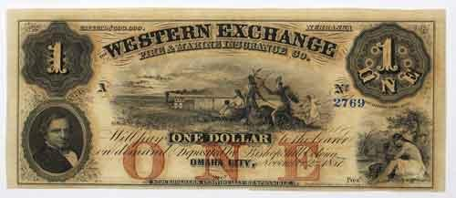 $1 CH CU Western Exchange Fire & Marine Exchange Omaha Neb 1857 Note