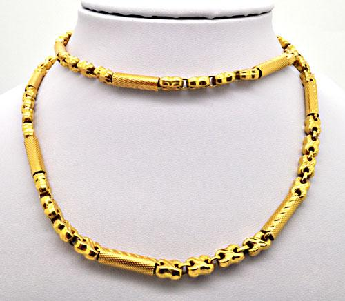 24 KT YELLOW GOLD BARREL LINK CHAIN.