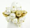 Vintage 18K Pearls & Gold Beads Cluster Ring