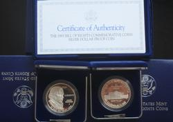 3 1993 Proof Bill Of Rights Proof Silver Dollars In Original Shipping Box