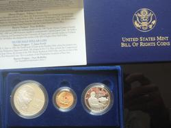 3 Piece 1993 Bill Of Rights Set With Gold $5