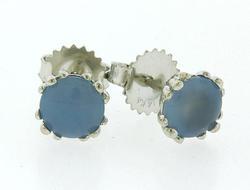 Chalcedony Stud Earrings in White Gold.