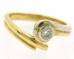 18kt Two Tone Diamond Bypass Ring