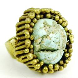Early Heavy Brass Ring with Raw Turquoise