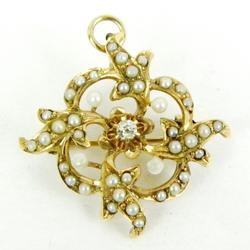 Exquisite Antique Diamond & Pearls Pin/Pendant