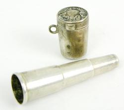 Antique Chatelaine Sterling Cigarette Holder & Case