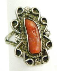 Vintage Sterling Navajo Coral Ring