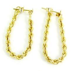 14K Yellow Gold Rope Chain Hoop Earrings