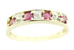 10K Band of Pink Topaz & Diamond Accent
