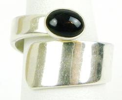 Wide Sterling Silver Bypass Ring with Black Onyx