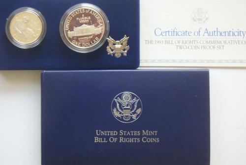 2 1993 Proof Bill Of Rights Proof Silver $ & Halfs In Original Shipping Box