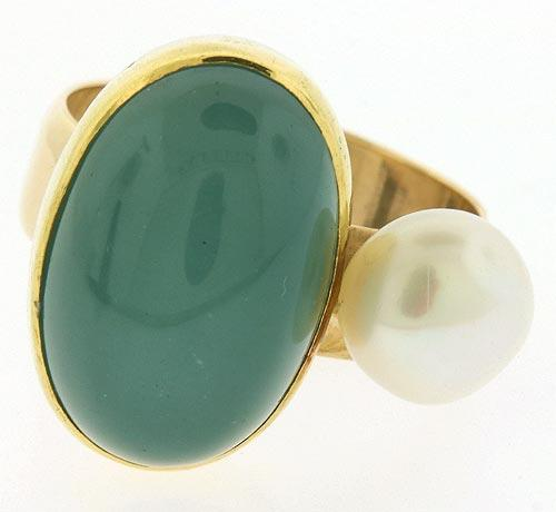 Nice Chalcedony & Pearl Abstract Ring