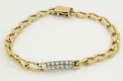 Diamond Bar Link Bracelet, 14K