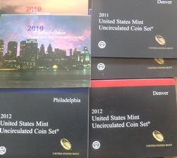 2010 2011 and 2012 United States Uncirculated Coin Sets OGP