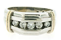 GENTS 5 STONE DIAMOND TWO TONE BAND