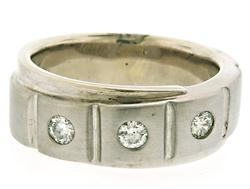 Gents 3 Diamond Band in White Gold