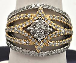 14 KT WHITE AND YELLOW GOLD OPENWORK DIAMOND RING.