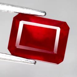 Beautiful 3.38ct emerald cut blood red Ruby
