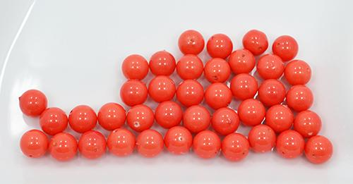 Coral Shell Pearls, 39 Count 10mm Round Beads